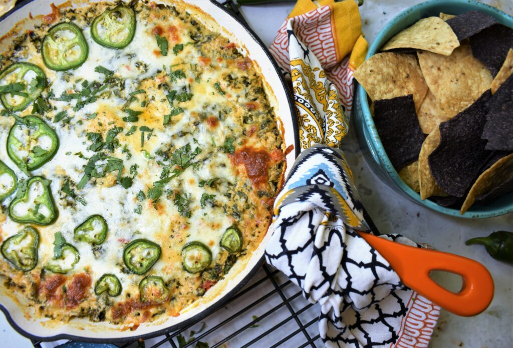 cheesy dip baked in skillet