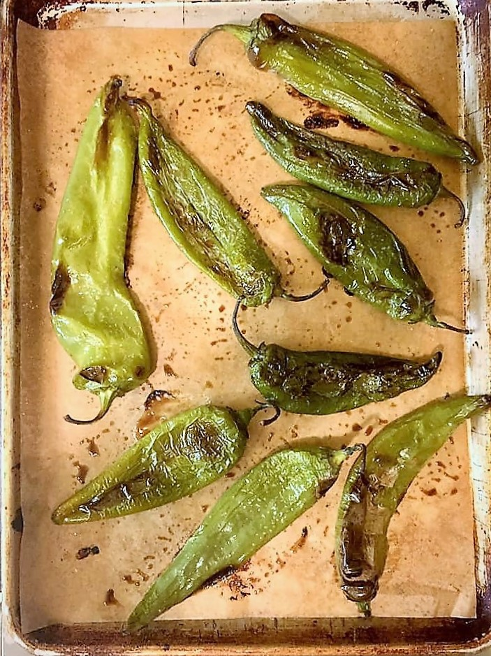 roasted Hatch chiles hot from the oven