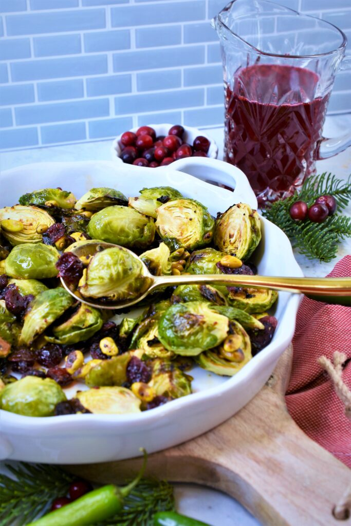 Christmas vegetable side dish with cranberries and pistachios