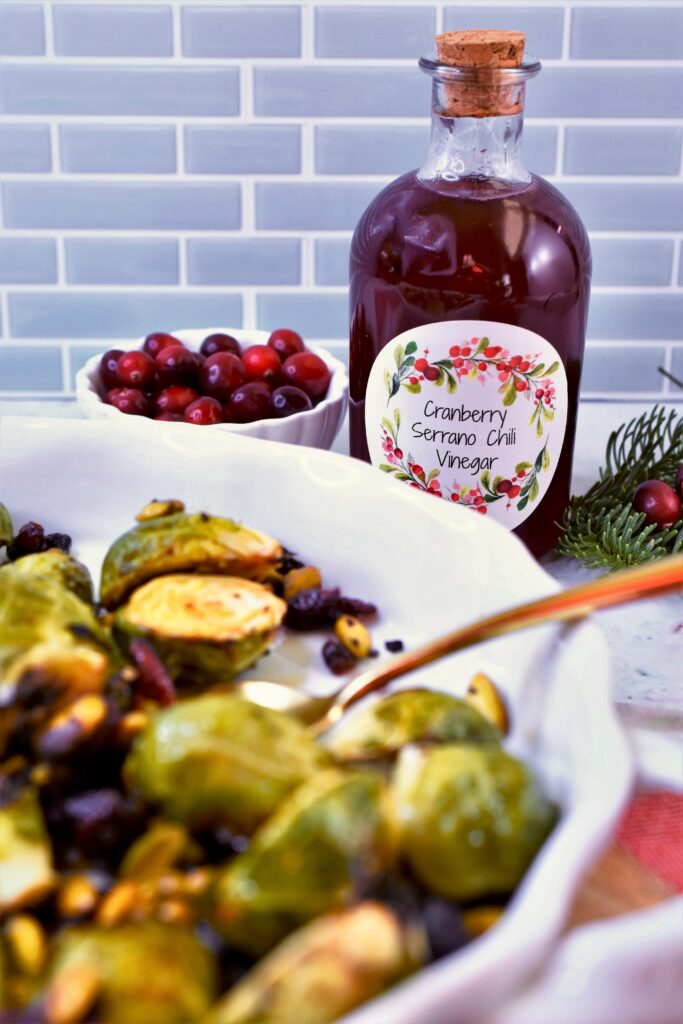 vegetable holiday side dish with cranberry serrano chili vinegar